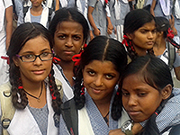 School girls in a rural area near New Delhi, India